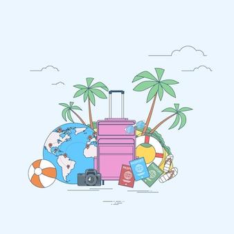 Путешествие на летнее время тропический остров с пальмой