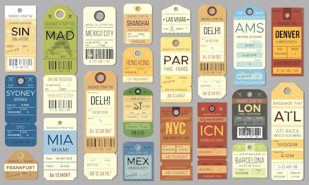 Luggage tags and tickets for passenger with country destination, weight and date
