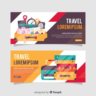 Luggage travel banner flat design