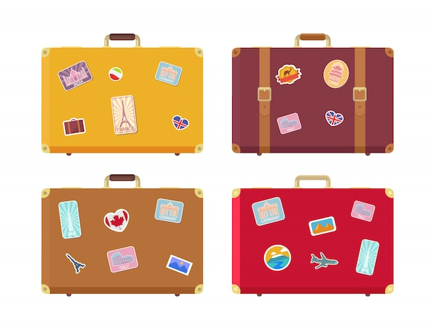 Luggage traveling bags with stickers set