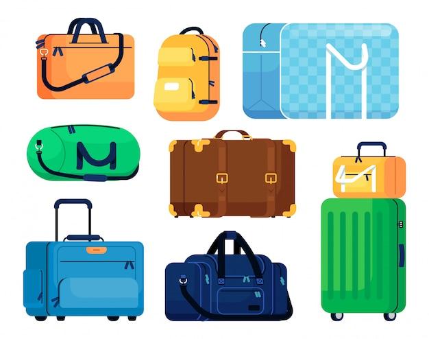 수하물 벡터입니다. 플라스틱 가방, 여행용 수하물, 가족 용 케이스, 배낭. 만화 핸들 수하물. 출장 용 패션 핸드백