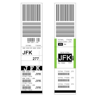 공항 스티커 라벨이있는 수하물-태그가있는 가방 및 jfk 뉴욕 공항