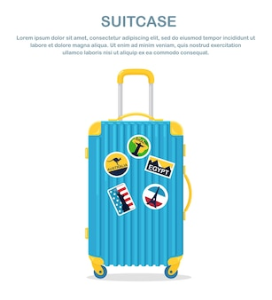 Luggage with stickers for visit worldwide