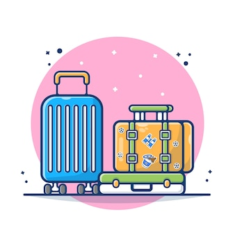 Luggage with suitcase and bag   illustration. bag and luggage traveling concept. flat cartoon style