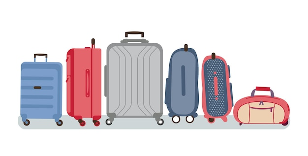 Luggage with suitcases and bags of different size and color flat