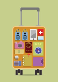 Luggage with travel items inside. vector illustration