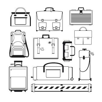 수하물 세트. 가방 및 여행 가방