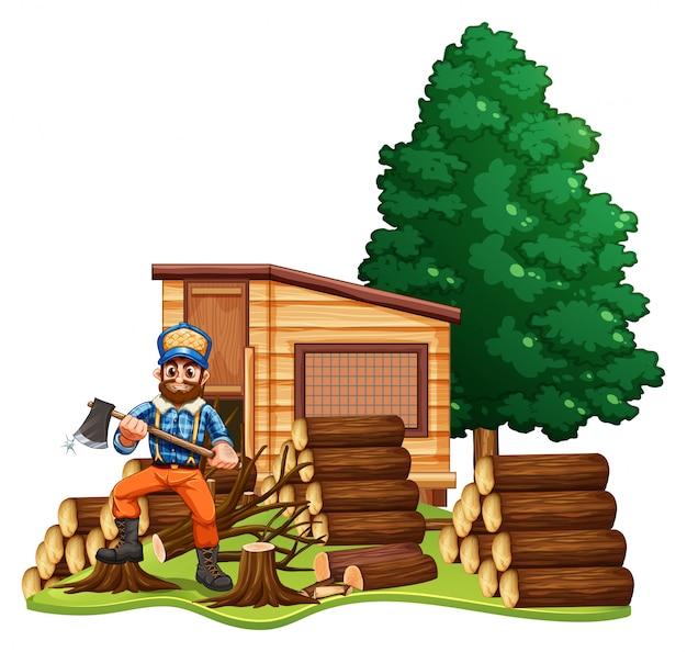 Lumber jack chops woods