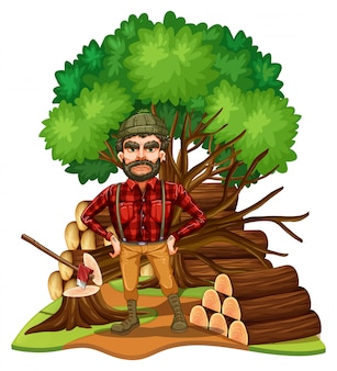 Lumber jack and firewood in the field