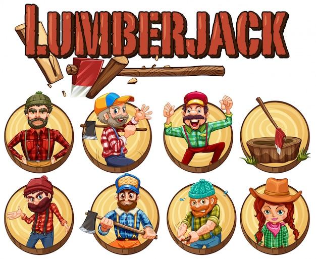 Lumber jack set on round badges