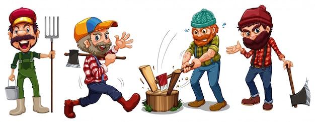 Lumber jacks and farmer characters