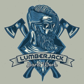 Lumberjack badge illustration