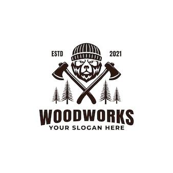 Lumberjack bear with axes logo mascot