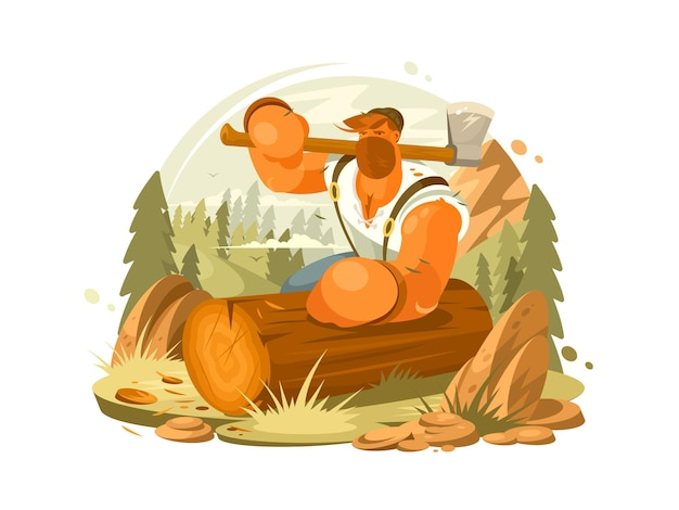 Борода лесоруба и топор в руке