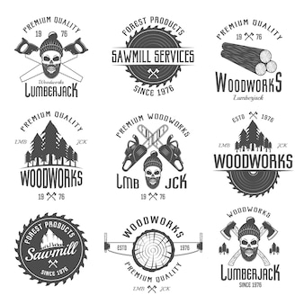 Lumberjack black white emblems with equipment forest products skull in hat with beard isolated