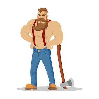 手に斧で赤い市松模様のシャツを着た残忍なひげを生やした木こり。