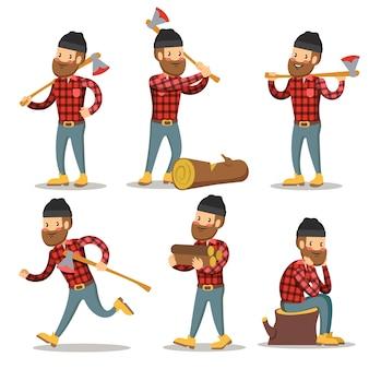 木こりの漫画のキャラクターセット。斧で木こり。