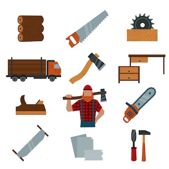 Lumberjack cartoon character with lumberjack tools elements vector illustration