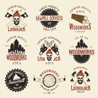 Lumberjack colored retro style emblems with timber and working tools
