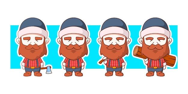 Lumberjack cute character illustration set holding axe and log.