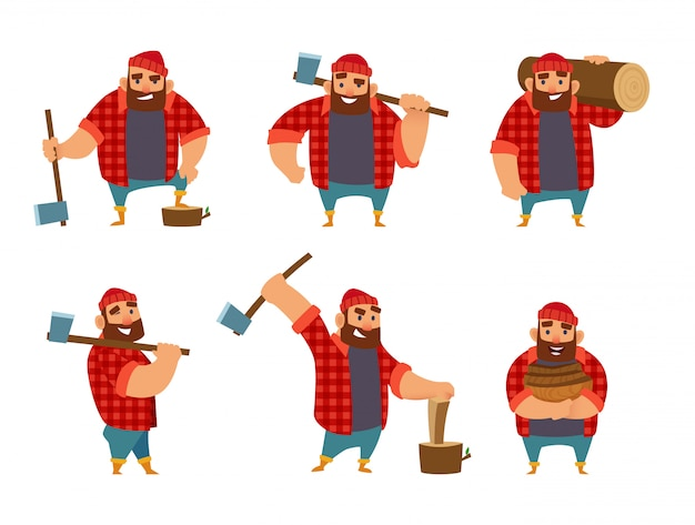 Lumberjack in different poses holding axe in hands.