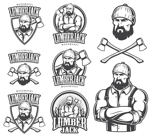 Of lumberjack emblem, label, badge, logo and designed elements. isolated on white background.