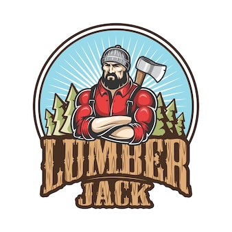 Of lumberjack emblem, label, badge, logo with text. isolated on white background.