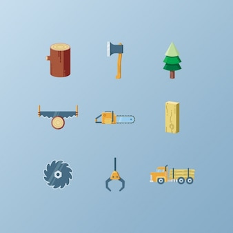 Lumberjack icons collection