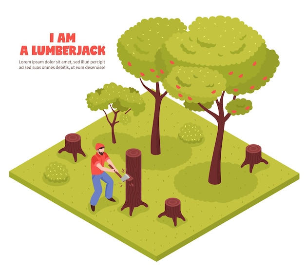 Lumberjack isometric composition with woodcutter chopping trees in forest with hand axe