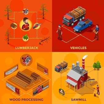 Lumberjack isometric design concept