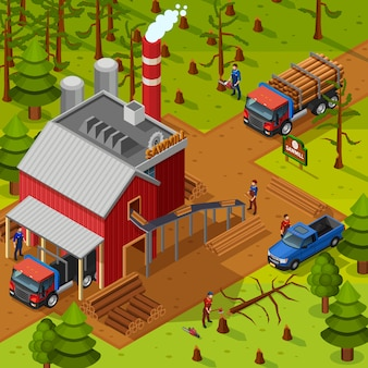 Lumberjack isometric illustration