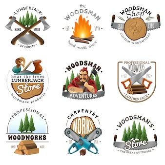 Lumberjack logo emblems labels set