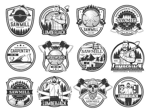 Дровосек, лесозаготовка и вырубка леса, череп в шляпе. эмблемы службы деревообработки и лесопилки лесоруба со скрещенными топорами лесоруба, лесовозы и столярный самолет