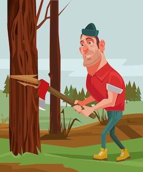 나무꾼 남자 캐릭터 자르고 나무.