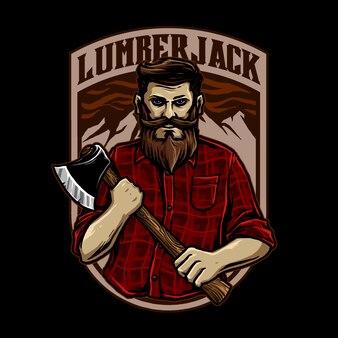 Lumberjack man with axe illustration