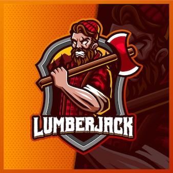 Lumberjack 마스코트 esport 로고 디자인 일러스트 템플릿, axe 로고가있는 angry lumberjack