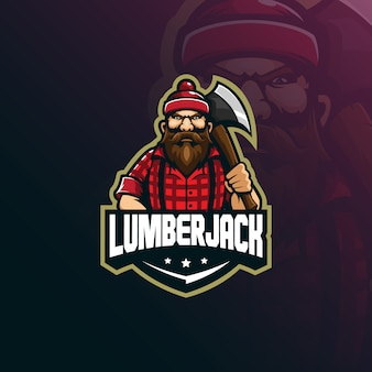 Lumberjack mascot logo design vector with modern illustration