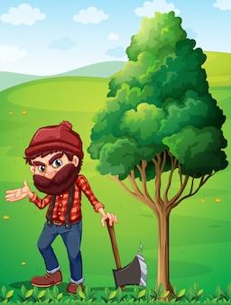 A lumberjack near the tree