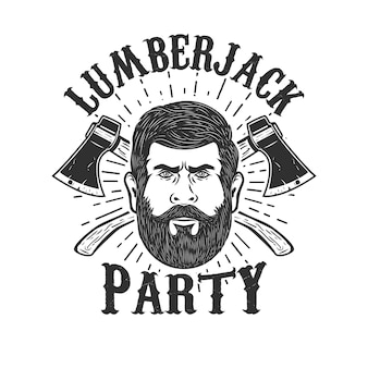 Lumberjack party. lumberjack head on background with two crossed axes.  element for logo, label, emblem, sign, badge.  illustration