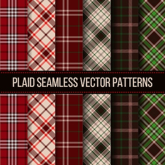 Lumberjack plaid, buffalo check, gingham seamless patterns set. fashion textile cloth, plaid fabric, vector illustration