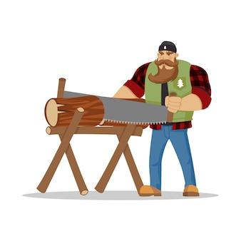 Lumberjack in red checkered shirt cutting a log
