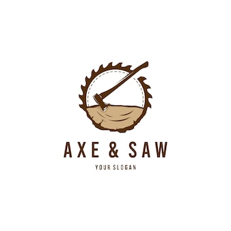 Lumberjack's axe and saw logo