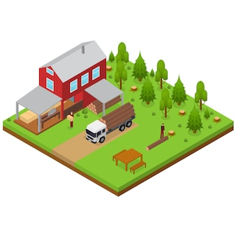 Lumberjack and sawmill building isometric view logging transport, workers and woodcutte witch equipment. vector illustration
