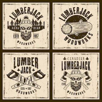 Lumberjack set of four brown emblems on background with textures