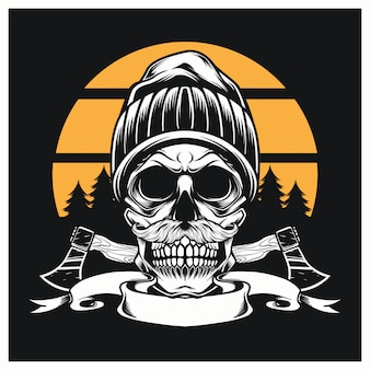 Lumberjack skull  with hat and ax logo vintage