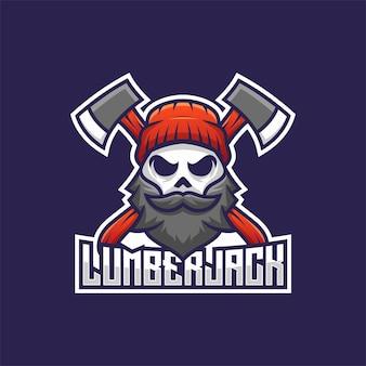 Lumberjack skull with mustache and beard mascot logo. man face head with ax illustration