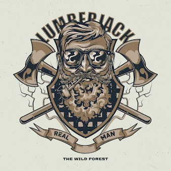 Design t-shirt boscaiolo con illustrazione di uomo barbuto in bicchieri con due assi