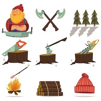 Дровосек, лесоматериалы и деревообрабатывающие инструменты мультфильм иконки набор изолированных. бензопила, топор, пень, бревно, лес и многое другое.