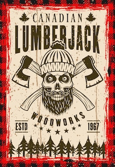 Lumberjack vector poster in vintage style with bearded skull in knitted hat and two crossed axes. layered, separate grunge texture and text