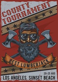 Lumberjack poster design vintage con illustrazione di un uomo barbuto in bicchieri con due assi